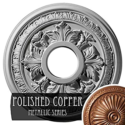 Ekena Millwork CM15BAACS 15 3/8 OD X 4 1/4 ID X 1 1/2 P Baltimore Ceiling Medallion fits Canopies up to 5, Antique Copper