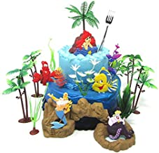 Little Mermaid Birthday Cake Topper Set Featuring Ariel and Friends with Decorative Themed Accessories