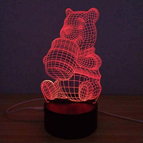Leuke beer, de honing isst 3D illusie lamp nachtlampje tafellamp, 7 kleuren auto wijzigen touch schakelaar bureau decoratie bedlampje met afstandsbediening voor kinderen, Kerstmis verjaardagen