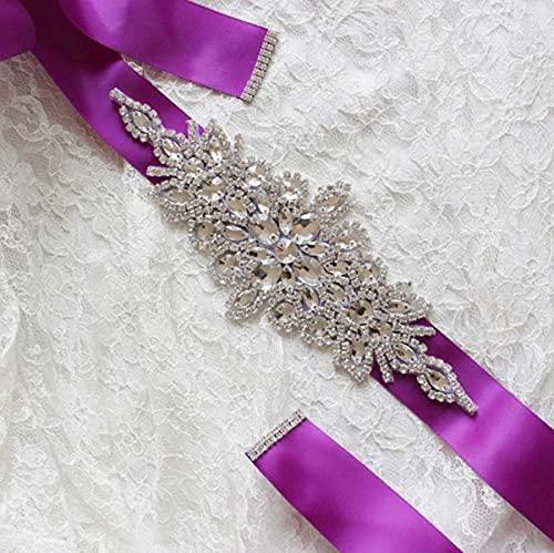 Mujeres Boda Fiesta de baile Decoración Faja ancha Diamante de imitación Cinta...