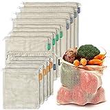 12+1 Bolsas Reutilizables de Algodón Orgánico - Set de 12 bolsas y 1 muselina...