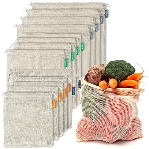 12+1 Sacs Réutilisables en Coton Biologique pour Produits - Paquet de 12 Sacs et 1 Filet| Ecologique| Double Couture et Léger | Fruits et Légumes | Lavable | Taille selon la Couleur (4S, 4M, 4L)