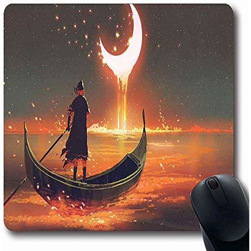 Mousepads gloeiende Oranje Schilderij Surreal Roeien Boot Parken Maan Druppel Lava artistieke Crescent Oblong vorm 18X22Cm anti-slip Gaming Mouse Pad