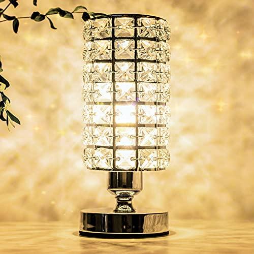 Vingab Lámpara de escritorio de cristal plateado, elegante lámpara decorativa de mesita de noche para dormitorio, sala de estar, vestidor, comedor (bombilla de 5 W incluida)