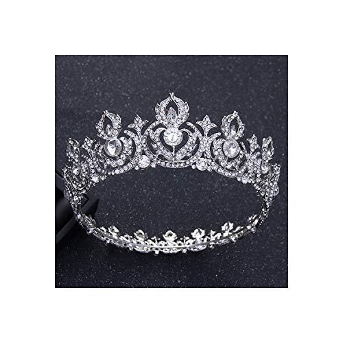 Glamour Girlz Diadem, mit Kristallblatt, rund, für Hochzeiten, Barock-Stil, Strasssteinbesatz