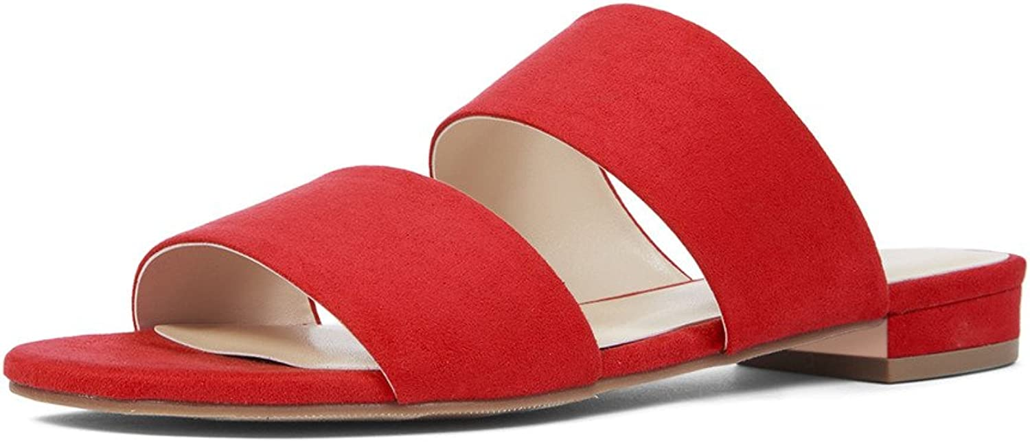 YDN Womens Casual Open Toe Sandals Block Low Heel Summer Flats shoes Slip on