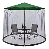 LANGYI Sombrilla para patio o exteriores, malla mosquitera, cortina grande, paraguas para colgar tienda de campaña ligera, color negro