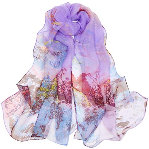 Scarfs for Women Lightweight Print Floral Pattern Scarf Shawl Fashion Scarves Sunscreen Shawls (oil painting&Purple)