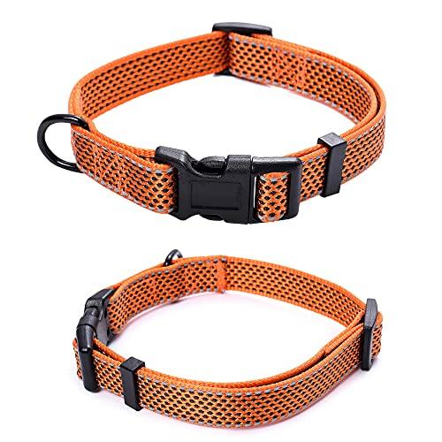 """Mile High Life Reflektierendes Hundehalsband für kleine Hunde und mittelgroße Hunde, Medium Neck 13""""-17"""" -40 lb, Orange"""