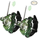 Crystaller Walkie Talkie for Kids, Two-Way Radio Walky Talky Watches with Flashlight Children Outdoor Game Interphone Toy Game and Gifts for Boy and Girl - 2 Pack