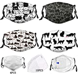 Cartoons Cat Face Mask (4 PCS) Washable Reusable Dust Mask Funny Cute Cat Pattern Decoration Fashion Comfortable Breathable Soft Bandanas Balaclava Warmth Outdoor for Men Women Teens with 10 Filters