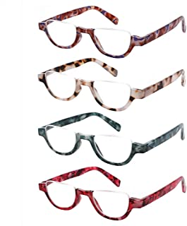 4 Pairs of Colorful Fashion Half Moon Frame Reading Glasses Spring Hinge Male and Female Readers