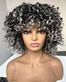RunM Short Curly Afro Wigs for Black Women Ombre Grey Kinky Curly Hair Wig with Bangs Synthetic Heat Resistant Full Wigs 14 Inches (Ombre Gray)