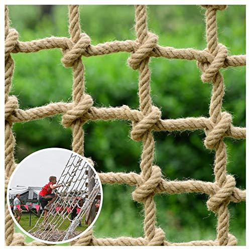 Red de Escalada para Niños Red de Cuerda de Cáñamo de 16mm Red de Seguridad para Niños Red de Protección de Jardín de Escaleras de Balcón Puente Colgante Techo Decorativo,15cm,5 * 3M(16 * 10ft)