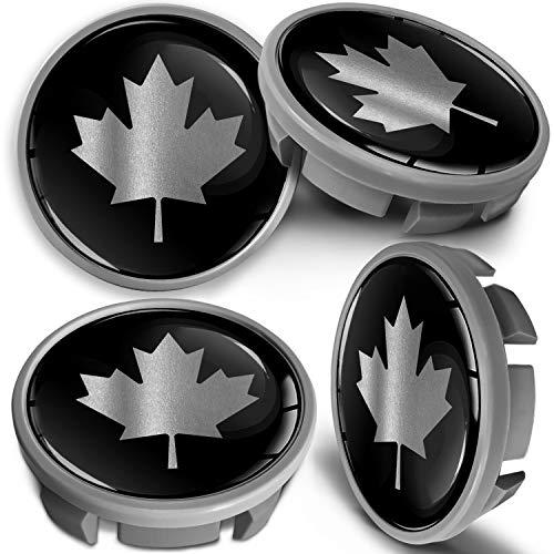 SkinoEu 4 x 65mm Tapas de Rueda de Centro Centrales Llantas Aluminio Compatibles con Tapacubos VW Número de Pieza 3B7601171 / 6U7601171 Negro Plata Bandera de Canadá CVS 6