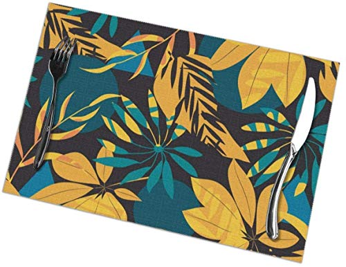 Sunwei stevige Placemats voor eettafel set van 6,Placemats voor eettafel set van 6Naadloos Patroon Met Tropische Planten En Abstractie Op Zwarte Achtergrond tafelkleed 45X30 CM