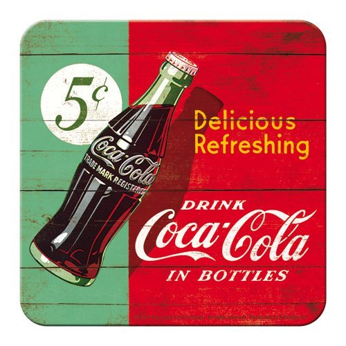 NART sous-bock Métal & Liège : Modèle Coca-Cola, 5 Cent a Bottle, 9 x 9 cm