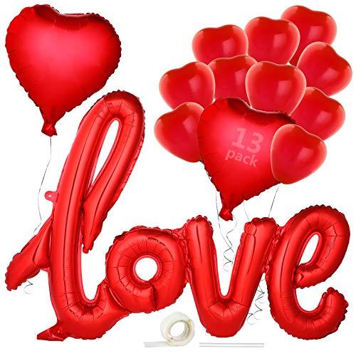 GeeRic Palloncini per Matrimonio, Decorazioni per La Festa di San Valentino Set Decorazioni Gigante Palloncino Cuore Latex Palloncini Love Colorati Set per Matrimoni, Anniversari, Fidanzamento Rosso