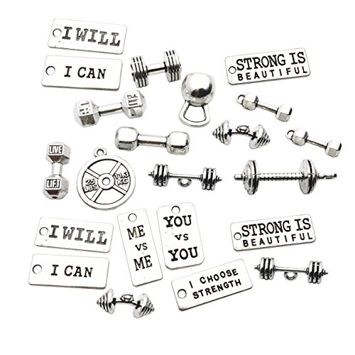30 pcs Craft Supplies Antique Silver Sport Dumbbell Weightlifting Alphabet Card Crafting Jewellery Findings Making Accessory for DIY Necklace Bracelet WM039