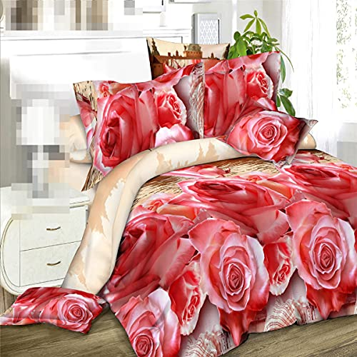 Juego de sábanas de algodón 3D rosa de 4 unidades, funda de edredón suave, sábana de cama, funda de almohada, ropa de cama grande