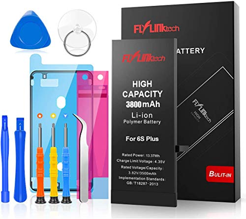 FLYLINKTECH for iPhone 6S Plus Battery Replacement, 3800mAh High Capacity Li-ion Battery with Repair Tool Kit (NOT for 6S)-Included 24 Months Assurance