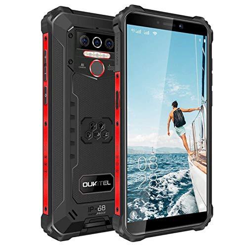 OUKITEL WP5-4G Outdoor Smartphone ohne Vertrag,5.5 Zoll 8000mAh Akku MTK6761 4GB + 32GB, IP68 Robustes Handy,Android 10.0,Triple Kamera,Gesichtserkennung (Schwarz)
