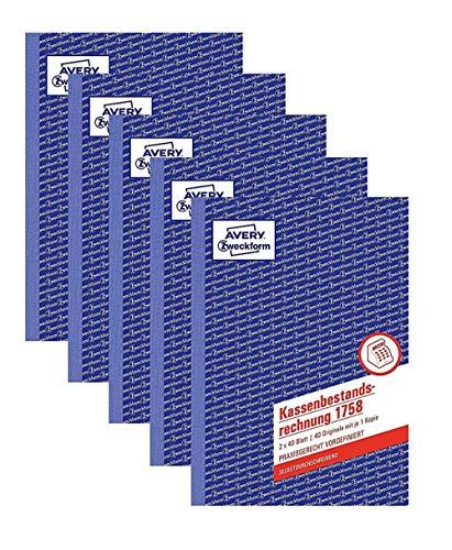 AVERY Zweckform 1758 Kassenbestandsrechnung 2x40Blatt, weiß/gelb (5 Stück)