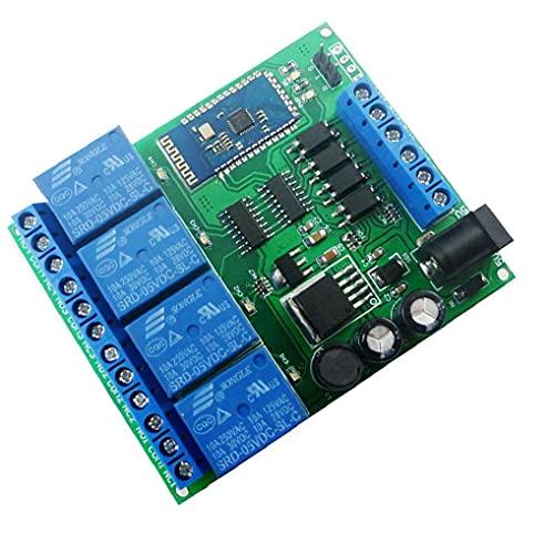 Módulo de relé de 4 canales Bluetooth DC 5V 9V 24V 12 Smart Wireless auto-bloqueo momentáneo de bloqueo remoto de control de conmutación inteligente Azul