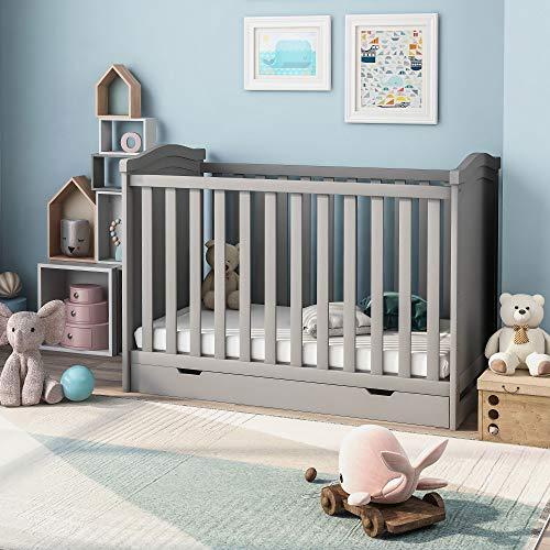 Lucakuins Cuna de madera maciza para bebé de 125 x 65 cm, con cajón de almacenamiento y colchón de espuma, cama convertible, 3 posiciones ajustables (gris)