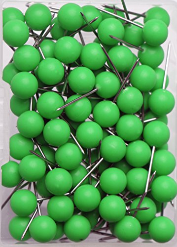 AnMiao Star 100pcs Map Tacks Push Pins 1/4 Inch Diameter Plastic Round Head and Steel Needle Points,Used for Marking Variety DIY Craft Office and Home on Map,Bulletin Board or Cork Boards(Green)