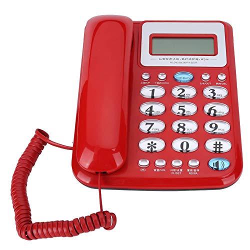 Línea Fija telefónica con Cable, W288 Teléfono Fijo a Domicilio de Color Elegante, sin batería diseñada, para Dormitorio de Oficina Familiar (Rojo) (Color : Red)