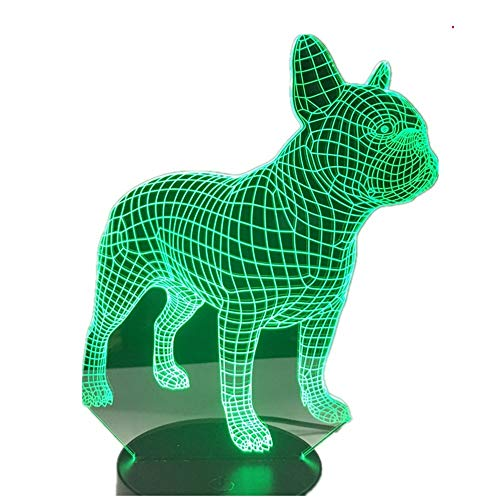 Bright love Français Bulldog 3D LED Lampe de Nuit 7 Couleurs USB Hologramme décoration Lampe de Table de Bureau Cadeau d'anniversaire pour Les Amis des Enfants