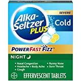 ALKA-SELTZER PLUS Severe Night Cold Powerfast Fizz Lemon Effervescent Tablets, 20 Count (Pack of 1)