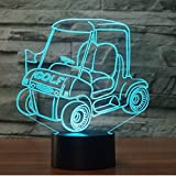 Voiture de golf LED 3D veilleuse chariot 7 changement de couleur USB tactile interrupteur lampe chambre décoration 3D lampe de table enfant cadeau créatif Illusion de Noël