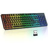 Teclado inalámbrico para juegos TopMate 2.4G Teclado retroiluminado con arcoíris recargable, teclas silenciosas Teclado ergonómico a prueba de salpicaduras, para Mac / Office / PC / Laptop