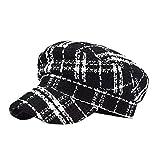 SANKANG Protezioni Casuali Beret Femminile Autunno e in Inverno Cappello Esterno Lattice Ottagonale cap Regolabile (Color : Black)