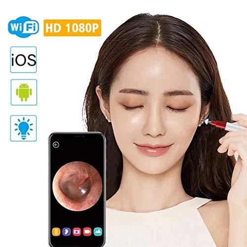 HWENJ Telecamera per Ispezione Dell\'orecchio 3,9Mm, Otoscopio Wireless 1080P 6 LED Endoscopio Auricolare IP67 Impermeabile 2 Milioni Pixel WiFi Visual Ear Spoon per Tablet,iOS,Android