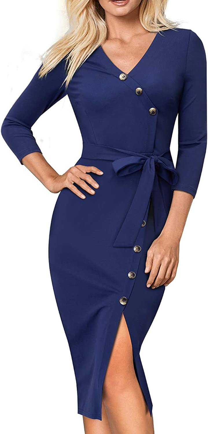 HOMEYEE Women's VNeck 3 4 Sleeve Button Split Hem Belt Business Dress B464