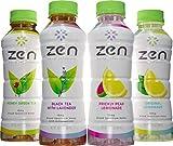Zen Infused Beverages, Variety Pack, 10mg Hemp Extract, Calming Beverage, Non-Carbonated, 4 Bottles, Honey Green Tea, Black Tea with Lavender, Prickly Pear Lemonade, Original Lemonade, 16 Ounce