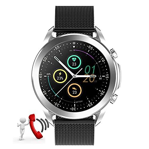 HQPCAHL Reloj Inteligente Smartwatch - Medidor de Temperatura Corporal, Llamadas Bluetooth, Pulsómetros, Monitor de SpO2, Ritmo Cardíaco para Android iOS,Metalic Black a