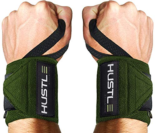 "Hustle Athletics Wrist Wraps Weightlifting - Best Support for Gym & Crossfit - Brace Your Wrists to Push Heavier, Avoid Injury & Improve Your Workout Instantly - for Men & Women (Military Green, 12"")"