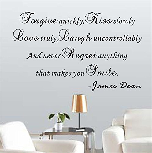 Stickers Muraux Wall Sticker Phrases Decals Decor Vinyl Art Stickers And Never Regret Anything That Makes You Smile - James Dean