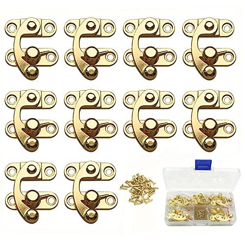 sempiterno ロック アンティーク亜鉛合金ボックス南京錠掛け金フック 亜鉛合金ホーンロック 木製ボックスギフトボックスバックル ネジと収納ボックス付き 10セット (ゴールド 左ロック)