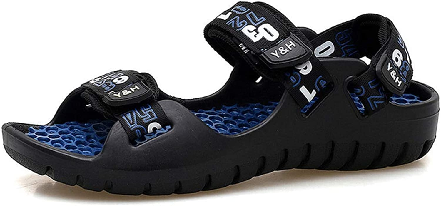 ZHRUI Man Sandals Casual Summer shoes Beach Walking Rubber Sole Breathable Wear-Resistant Outdoor Sport Flats shoes for Male (color   Black bluee, Size   6.5=39 EU)
