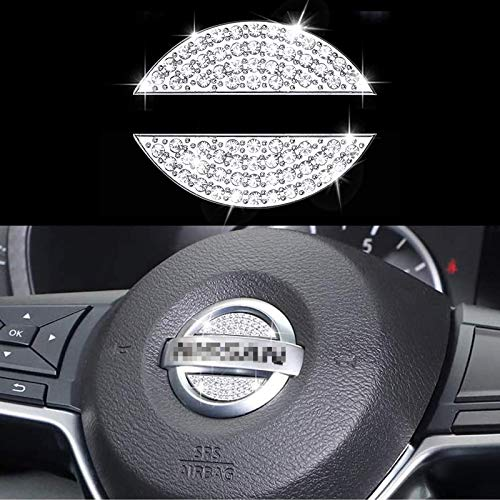 AEEIX Bling Steering Wheel Logo Caps Compatible with Nissan, DIY Diamond Crystal Emblem Accessories Interior Decorations for Women, Fit for Nissan Rogue Altima Maxima Sentra Titan Pathfinder