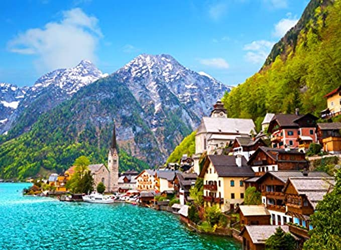 Agirlgle Jigsaw Puzzles 1000 Pieces for Adults for Kids, Jigsaw Puzzles Hallstatt Town