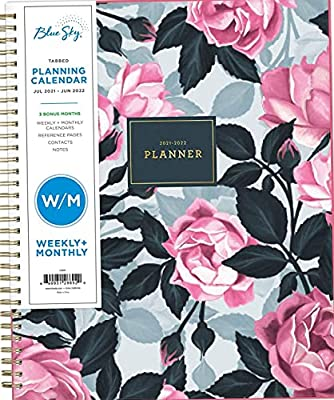 """2021-2022 Academic Year Weekly & Monthly Planner, 8.5"""" x 11"""", Frosted Flexible Cover, Wirebound, Roosevelt Pink (128692)"""
