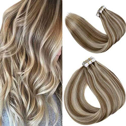 LaaVoo 50cm Hair Extension Tape Double Sided Unsichtbar Tape in Extensions Echthaar Remy Naturlich Haarverlangerung Aschblond Highlights Bleichblond 50g 20PCS