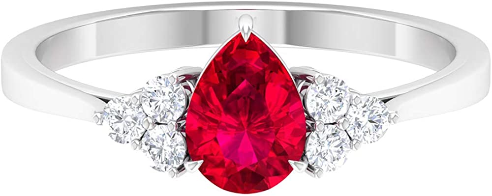 0.75 Ct Pear Shape Ruby Engagement Ring,0.18 Ct SGL Certified Diamond Cluster Wedding Ring, Unique Gemstone Gold Ring, Classic Women Statement Ring, 14K White Gold, Size:US 6.0