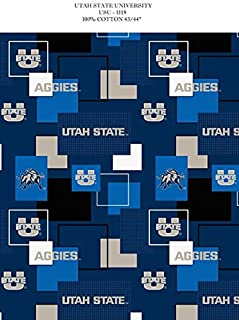 UTAH STATE COTTON FABRIC-UTAH STATE AGGIES 100% COTTON FABRIC SOLD BY THE YARD
